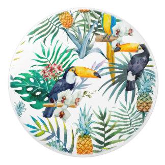 Bouton De Porte En Céramique Aquarelle tropicale d'oiseau de perroquet d'ananas