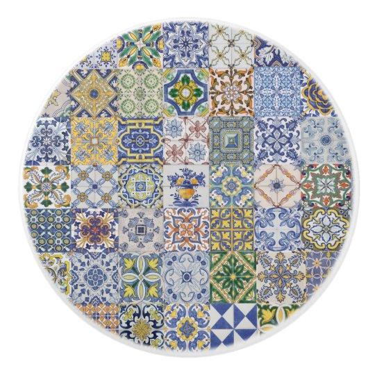 Bouton De Porte En Céramique Azulejos Patchwork