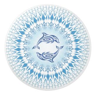 Bouton De Porte En Céramique Blanc bleu de mandala de dauphins