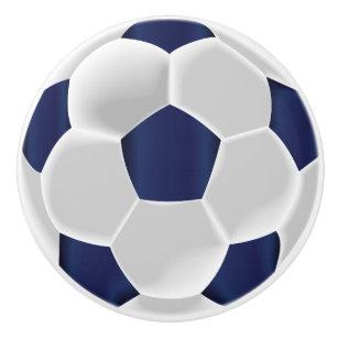 03ffd8346638c Bouton De Porte En Céramique Bleu marine et ballon de football de