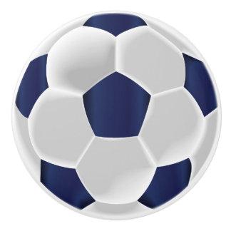 Bouton De Porte En Céramique Bleu marine et ballon de football de