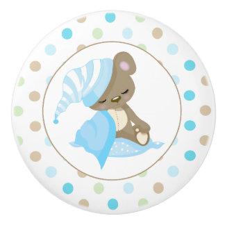 Bouton De Porte En Céramique Bleu somnolent d'ours de bébé