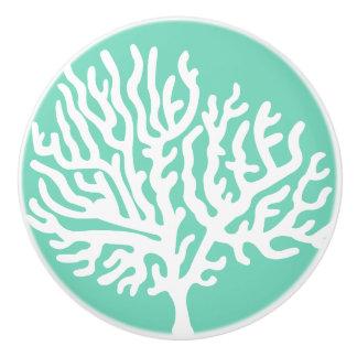 Bouton De Porte En Céramique Corail de mer blanche et vert côtiers en verre de