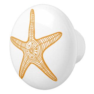 Bouton De Porte En Céramique Décor d'adoption d'histoire d'étoiles de mer