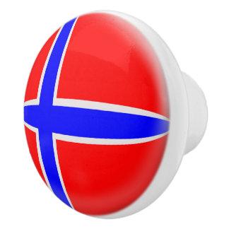 Bouton De Porte En Céramique Drapeau de Norvégien de la Norvège