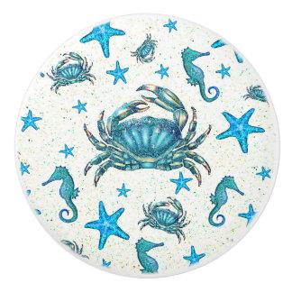 Bouton De Porte En Céramique Étincelle moderne d'hippocampe d'étoiles de mer de