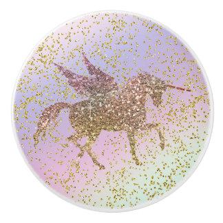 Bouton De Porte En Céramique Filles à la mode d'or d'arc-en-ciel de licorne en