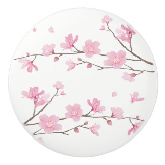 Bouton De Porte En Céramique Fleurs de cerisier - arrière - plan transparent