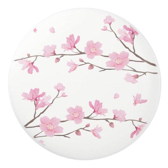 bouton de porte en c ramique fleurs de cerisier arri re plan transparent. Black Bedroom Furniture Sets. Home Design Ideas