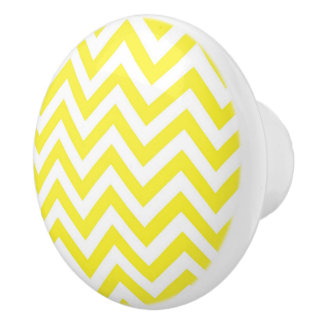 Bouton De Porte En Céramique Grand motif de zigzag jaune et blanc de Chevron