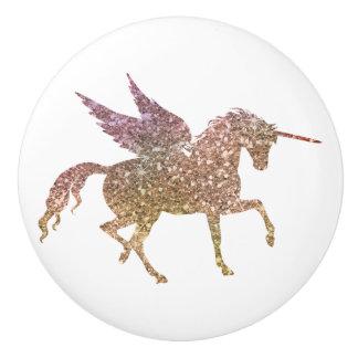 Bouton De Porte En Céramique Imaginaire magique d'étincelle de licorne de vol