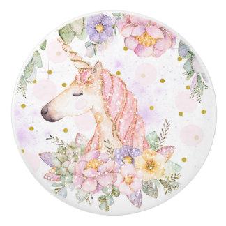 Bouton De Porte En Céramique Imaginaire magique d'étincelle de licorne florale