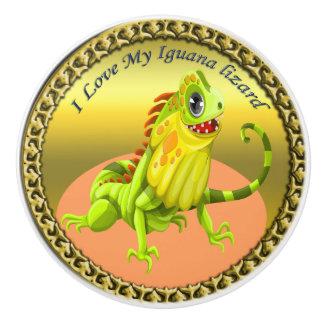 Bouton De Porte En Céramique Lézard heureux d'iguane de nature de vert adorable