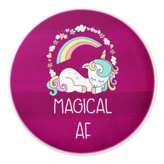Bouton De Porte En Céramique Licorne drôle indiquant l'AF magique