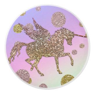 Bouton De Porte En Céramique L'or en pastel d'arc-en-ciel pointille les filles