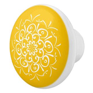 Bouton De Porte En Céramique Mandala de miel