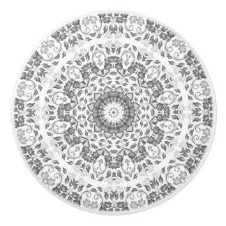 Bouton De Porte En Céramique Mandala floral de blanc gris