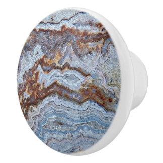 Bouton De Porte En Céramique Motif d'agate de lard