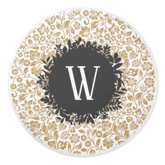 Bouton De Porte En Céramique Motif floral d'or avec le monogramme gris-foncé de