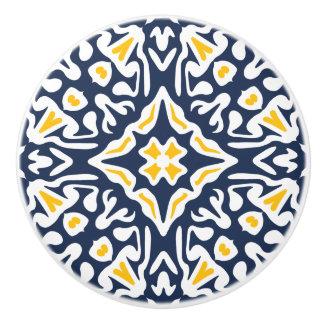 Bouton De Porte En Céramique Motif méditerranéen de marine et de tuile de jaune