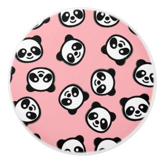 Bouton De Porte En Céramique Motif noir et blanc de bande dessinée de panda