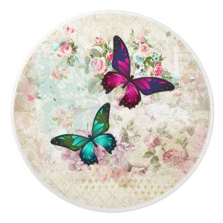 Bouton De Porte En Céramique Papillons roses et verts sur les roses vintages