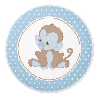 Bouton De Porte En Céramique Point de polka de chimpanzé de bébé bleu