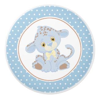 Bouton De Porte En Céramique Point de polka de léopard de bébé bleu