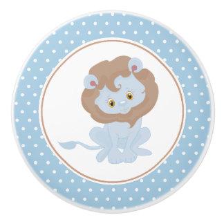 Bouton De Porte En Céramique Point de polka de lion de bébé bleu