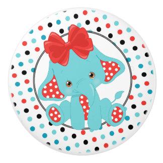 Bouton De Porte En Céramique Point de polka d'éléphant de bébé rouge et bleu