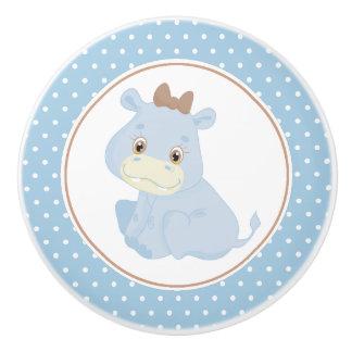Bouton De Porte En Céramique Point de polka d'hippopotame de bébé bleu