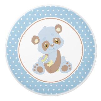 Bouton De Porte En Céramique Point de polka d'ours panda de bébé bleu