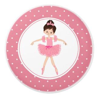 Bouton De Porte En Céramique Point de polka rose de ballerine de tutu