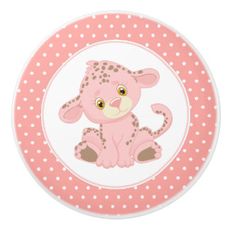 Bouton De Porte En Céramique Point de polka rose de léopard de bébé