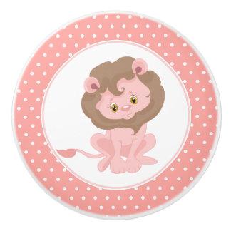 Bouton De Porte En Céramique Point de polka rose de lion de bébé