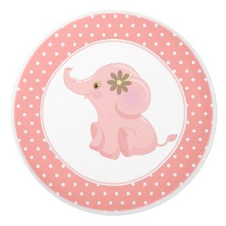 Bouton De Porte En Céramique Point de polka rose d'éléphant de bébé