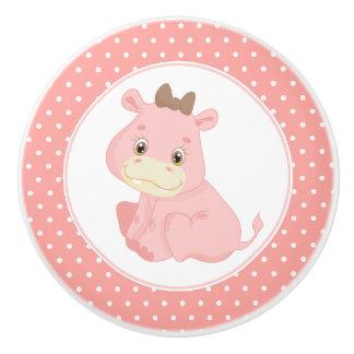 Bouton De Porte En Céramique Point de polka rose d'hippopotame de bébé
