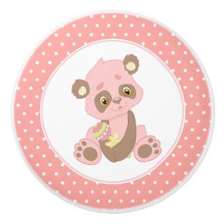 Bouton De Porte En Céramique Point de polka rose d'ours panda de bébé
