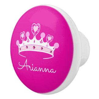 Bouton De Porte En Céramique Princesse Crown Custom Personalized de roses
