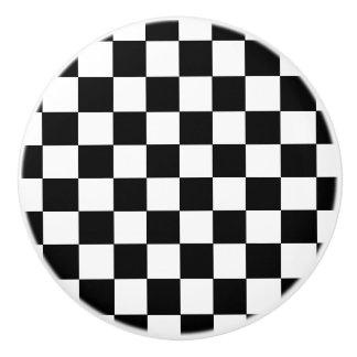 Bouton De Porte En Céramique Style vérifié noir et blanc de drapeau