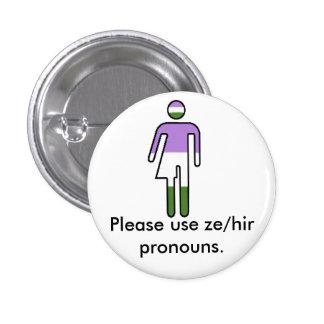 Bouton de pronom de Genderqueer Ze/Hir Badge