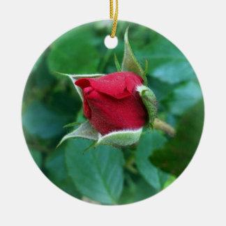 bouton de rose rouge ornement rond en céramique