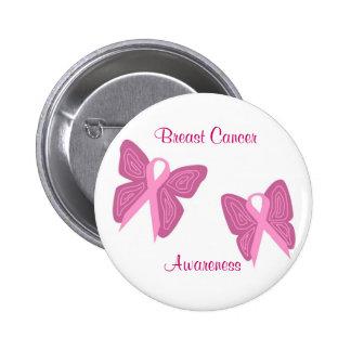 Bouton de rubans de papillon de cancer du sein badge rond 5 cm