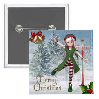 Bouton de Sadie Elf de Joyeux Noël Badge Carré 5 Cm