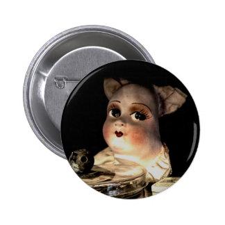 Bouton de visage de poupée de tissu badge avec épingle