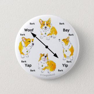 Bouton d'Écorce-Horloge de corgi Pin's