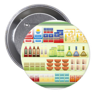 Bouton d'étagère de marchandises de supermarché badge