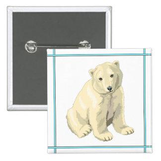 Bouton d'ours blanc de bébé badge