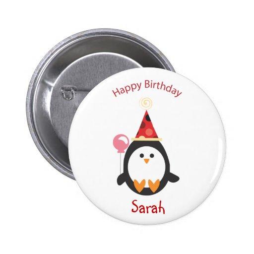 Bouton doux d'anniversaire de pingouin badges