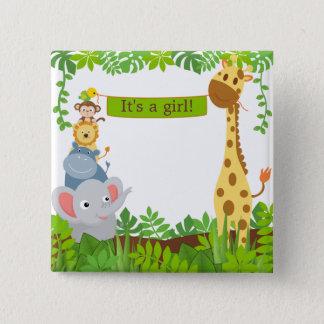 Bouton drôle d'animaux de bébé de jungle badges